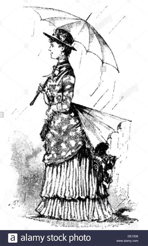 a century of graphic fashion 19th century umbrella for the protection of the bustle stock photo royalty free image