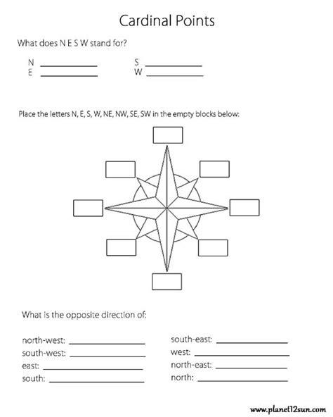 printable cardinal directions cardinal points worksheets pinterest worksheets