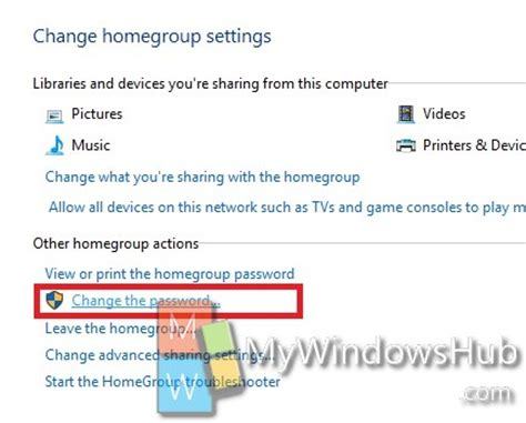how to change password of homegroup in windows 10?
