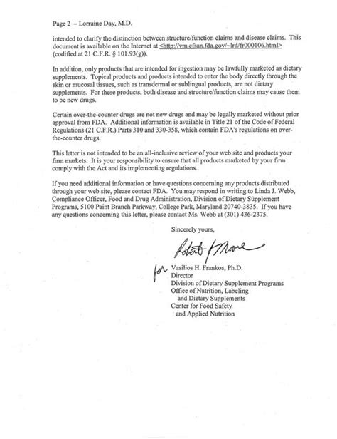 Response Warning Letter Dr Day Receives Warning Letter From Fda