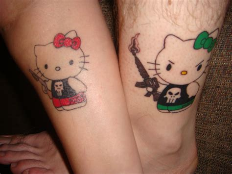 funny couple tattoos hello punisher hello hell