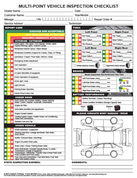 used car window sticker template vehicle pre purchase inspection checklist vehicle ideas