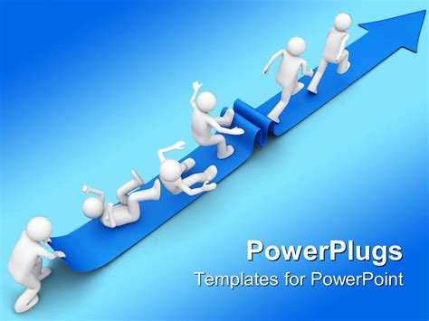 powerpoint template 3d character struggling to reach the