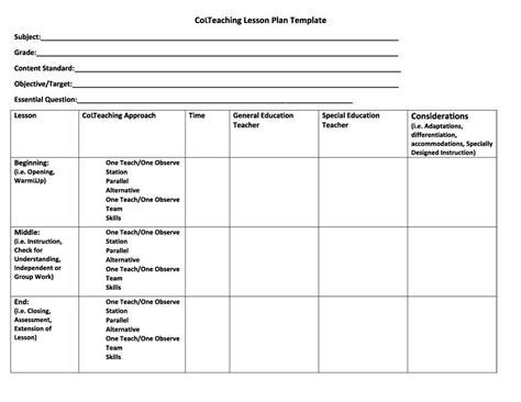 44 Free Lesson Plan Templates Common Core Preschool Weekly Modified Lesson Plan Template