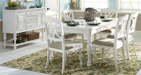 summer house oyster white rectangular leg dining room set from liberty 607 t4078 coleman