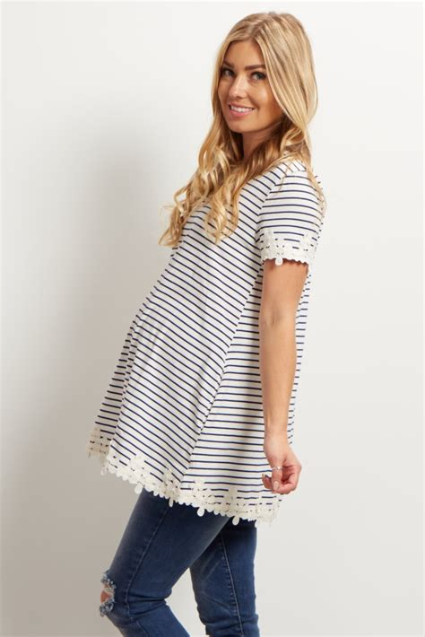 Sleeve Striped Trim Top navy striped floral trim sleeve maternity top