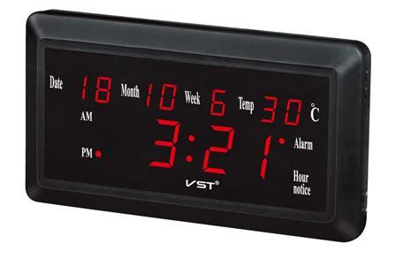 jam weker alarm dinding led calendar temperatur vst 780w