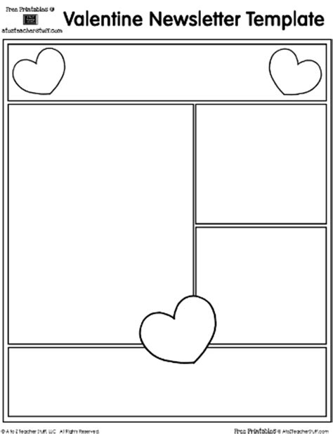 valentine s day heart printable newsletter template a to