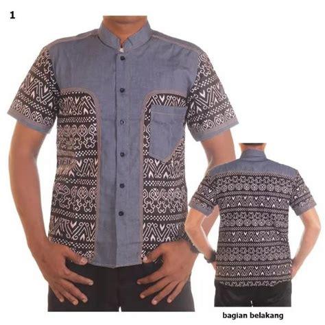 Kemeja Lengan Pendek Kombinasi Grey kemeja batik lengan pendek atasan batik pria bahan katun kombinasi jean brovi elevenia