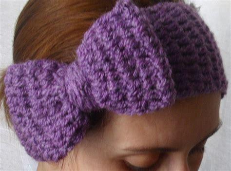 winter headbands pattern purple bow crochet boho winter headband headwrap earwarmer