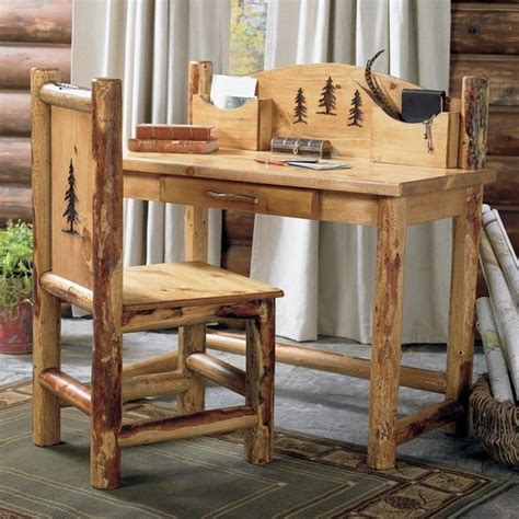 rustic desk chair country western cabin log wood