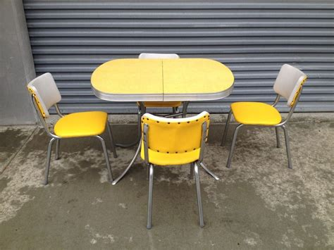 retro chrome table and chairs 1950 s 60 s retro vintage yellow chrome formica kitchen