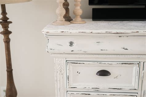 How Do You Distress Furniture by Diy Distressed Tv Console Cabinet Lynzy Co