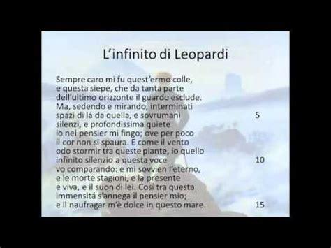 infinito testo leopardi l infinito di leopardi