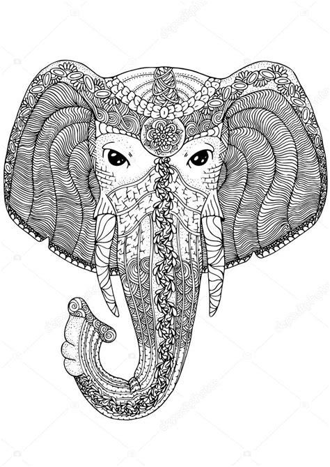 Kolorowanki książki dla dorosłych. Słoń. — Grafika