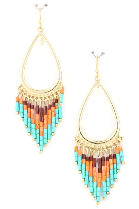 beaded fringe earrings metal teardrop beaded acrylic fringe earring earrings