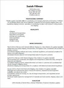 Logistics Resume Objective Examples Professional Logistics Specialist Resume Templates To