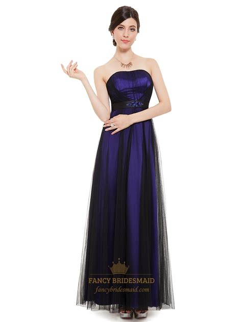 Purple Strapless Dress purple and black strapless tulle bridesmaid dresses with