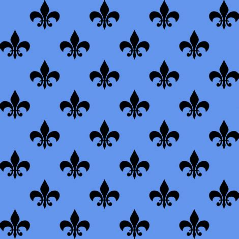 one inch black fleur de lis on cornflower blue fabric