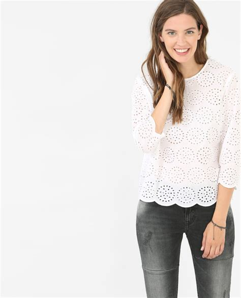 Selvi Top F A 1 blouse broderie anglaise blanc 561291900f09 pimkie