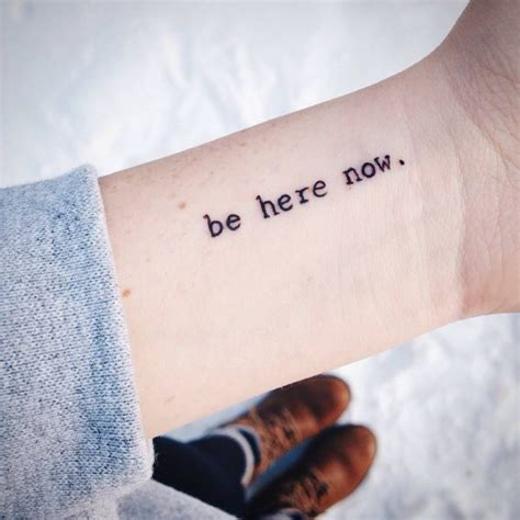 wrist saying be here now on tattoos