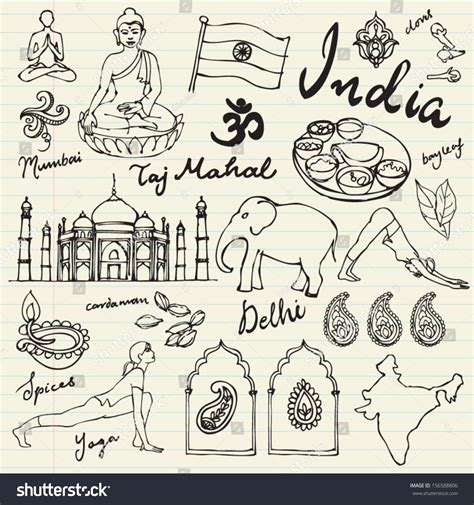indian wedding doodle set of india icons doodle vectors 156588806