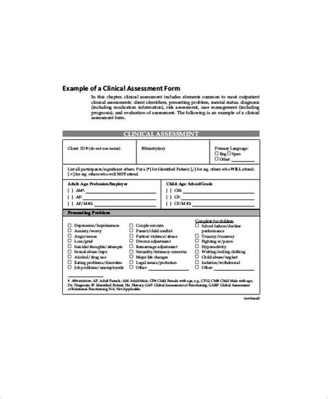 social work assessment form 7 social work assessment forms sle templates