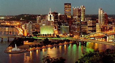evening view of pittsburgh's golden triangle