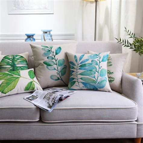 tropical couch tropical leaves green country decor cushion cover cotton