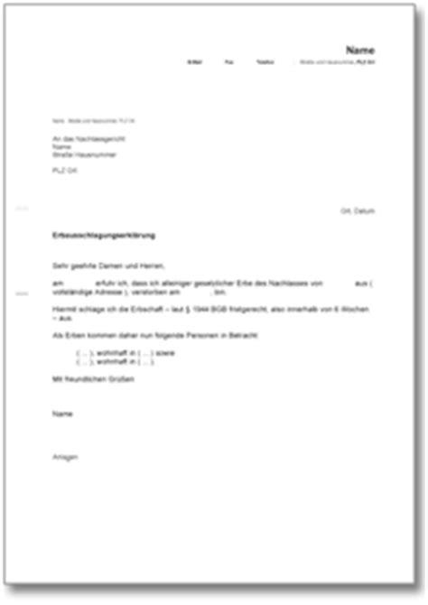 Musterbrief Widerspruch Unfallversicherung Ausschlagung Einer Erbschaft De Musterbrief