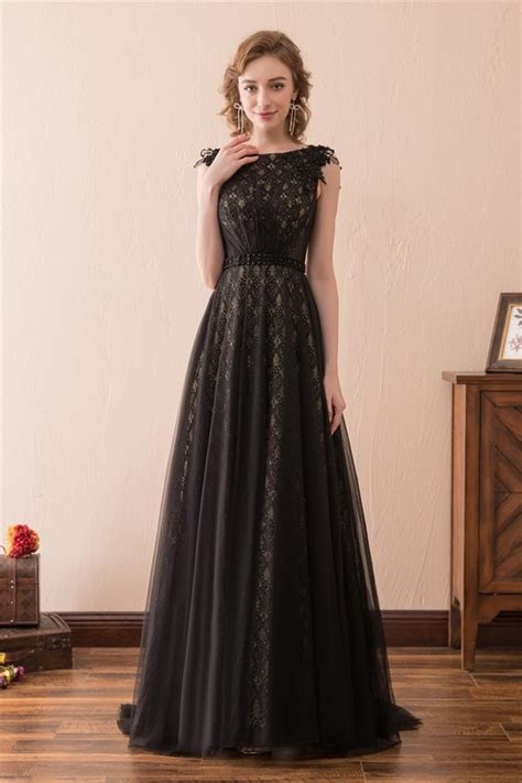 Sleeveless Lace Tulle Dress sleeveless black lace tulle prom dress with belt