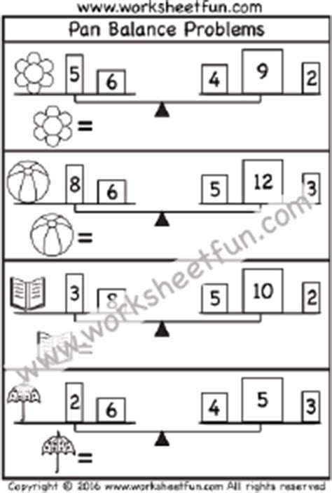 Pan Balance Worksheets by Pan Balance Problems Free Printable Worksheets