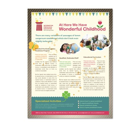 preschool flyer template preschool education flyer template