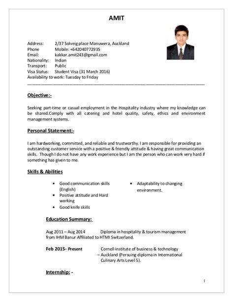 Hotel Resume Sample by Amit Cv Hospitality Amp Cookery 2 1