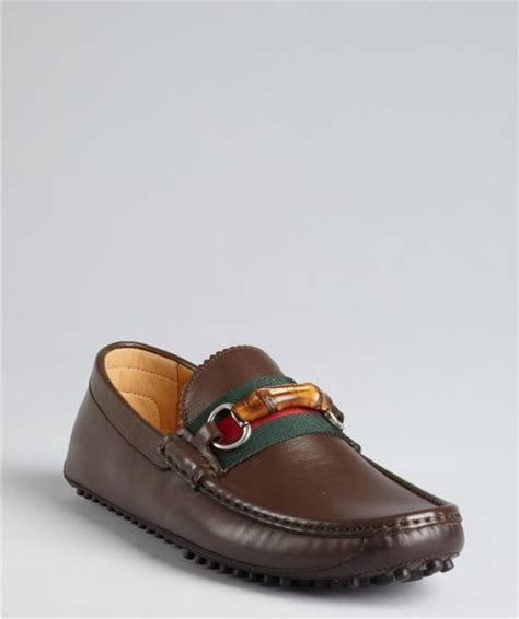 gucci bamboo loafer gucci cocoa leather bamboo horsebit loafers in brown for