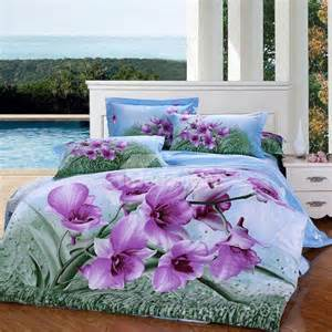 refreshing purple flower and green leaves print 3d bedding
