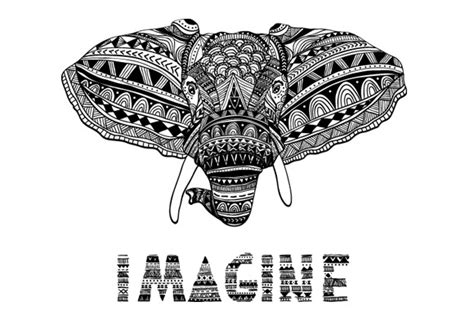 elephant coloring pages aztec designs vector drawing of elephant