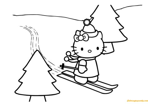 hello kitty christmas coloring pages online hello kitty skating on christmas day coloring page free