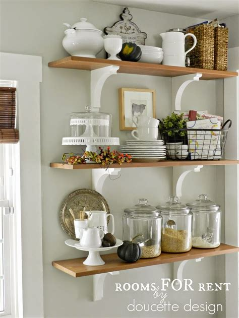 kitchen shelf decorating ideas open shelves in the kitchen grey owl by benjamin moore