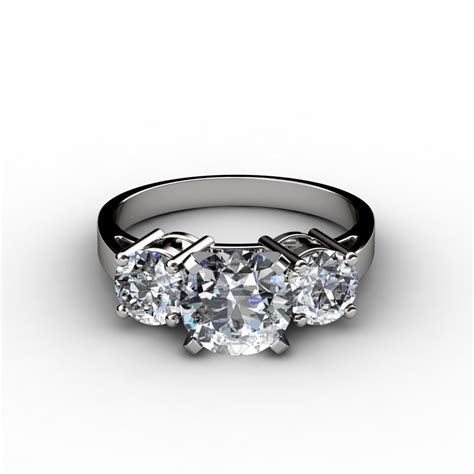 engagement rings three stone round cut engagement ring