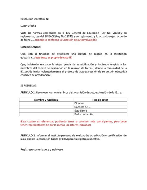 resolucion de intendencia nacional n modelo de resoluci 243 n directoral comis autoeval para ebr