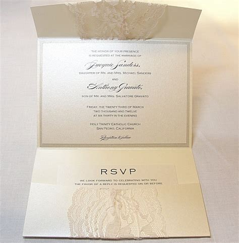 lace wedding invitations with pockets grey lace wedding invitation with pocket sang maestro