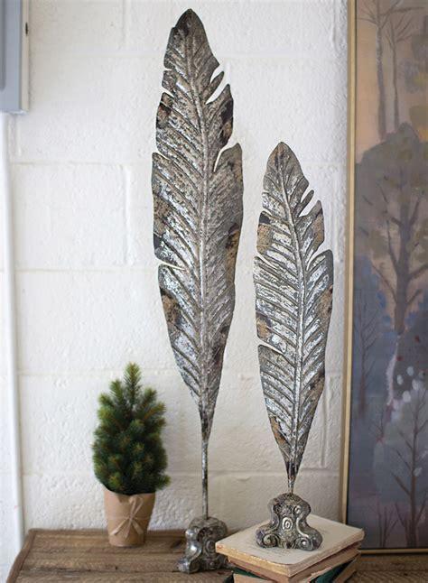 Feather Metal Sculptures (Set of 2)