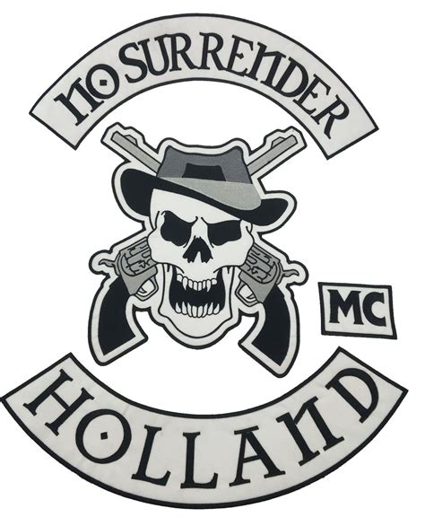 New No Surrender Motorcycle Embroidered Iron On Patch Large Full Back Size Patch For Jacket Vest Mc Patch Template