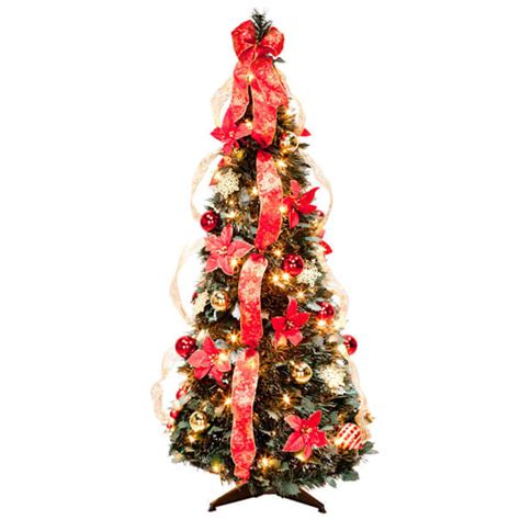 pre decorated pull up tree pull up fully decorated prelit poinsettia tree walter