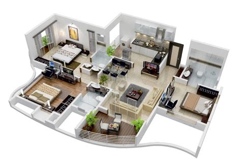 25 More 3 Bedroom 3d Floor Plans Architecture Design House Plans With 3d Interior Images