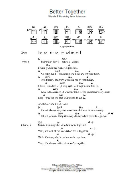 better together chords better together by johnson guitar chords lyrics