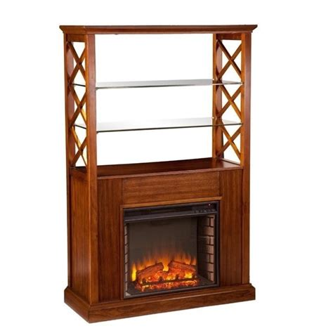 southern enterprises gentry curio with electric fireplace
