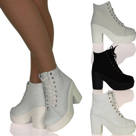womens chunky block heel canvas lace up boots