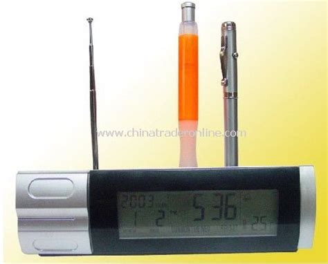 Leather Lcd Penholder With Clock by Lcd Calendar Clock With Penholder Lcd Calendar Clcok With